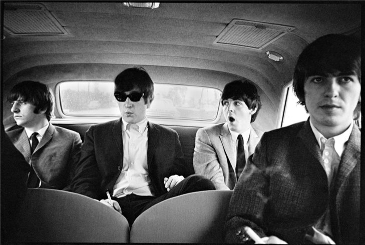 beatles in limo printed 30x40